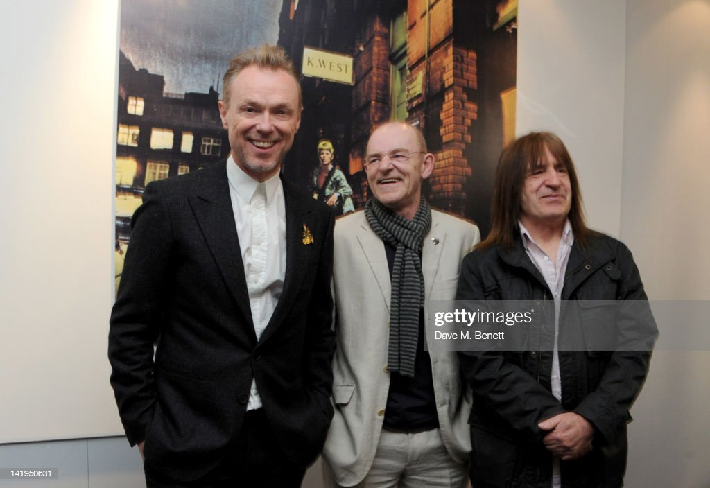 Gary Kemp, Woody Woodmansey and Trevor Bolder attend the unveiling of a plaque dedicated to David Bowie's famous character Ziggy Stardust on March 27, 201 in London, England. The plaque has been installed on Heddon Street, London, which was the location of the album cover photograph for 'The Rise and Fall of Ziggy Stardust and the Spiders from Mars'.
