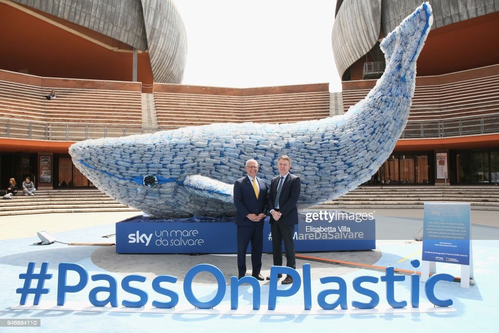 Gary Knell (L) and Jeremy Darroch attend the National Geographic Science Festival at Auditorium Parco Della Musica on April 16, 2018 in Rome, Italy. National Geographic commit $10 million to support Sky Ocean Ventures as they join forces to reduce plastics in the ocean. The collaboration will create the largest global media campaign to date focused on marine plastics.