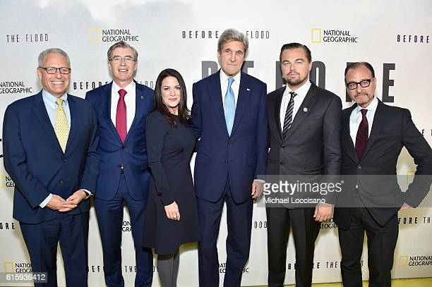 Gary Knell Declan Moore Courteney Monroe John Kerry Leonardo DiCaprio and Fisher Stevens attend the National Geographic Channel 'Before the Flood'...