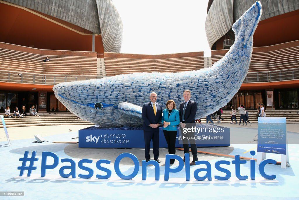 Gary Knell, Syliva Earle and Jeremy Darroch attend the National Geographic Science Festival at Auditorium Parco Della Musica on April 16, 2018 in Rome, Italy. National Geographic commit $10 million to support Sky Ocean Ventures as they join forces to reduce plastics in the ocean. The collaboration will create the largest global media campaign to date focused on marine plastics.