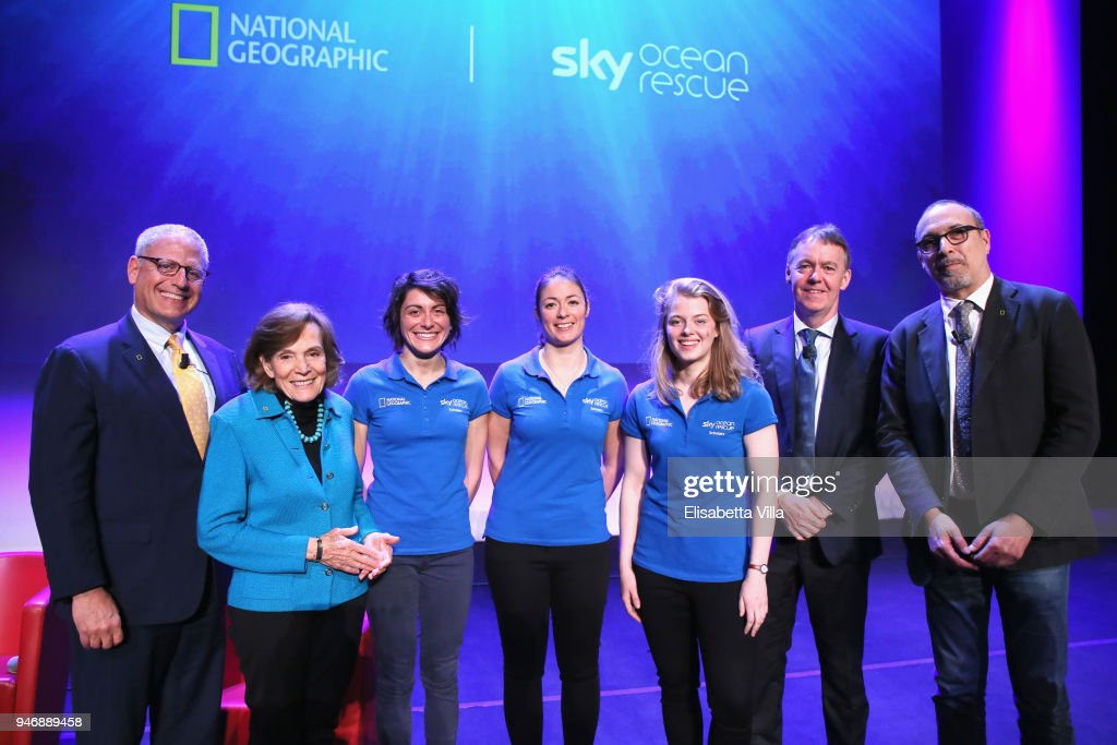 Gary Knell, Syliva Earle, Sky Ocean Rescue Scholars Martina Capriotti, Annette Fayet and Imogean Napper, Jeremy Darroch and Editor in Chief at National Geographic Italy Marco Cattaneo pose on the stage at the National Geographic Science Festival at Auditorium Parco Della Musica on April 16, 2018 in Rome, Italy. National Geographic commit $10 million to support Sky Ocean Ventures as they join forces to reduce plastics in the ocean. The collaboration will create the largest global media campaign to date focused on marine plastics.