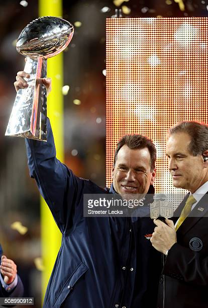 Gary Kubiak of the Denver Broncos celebrates with the Vince Lombardi Trophy after winning Super Bowl 50 at Levi's Stadium on February 7 2016 in Santa...