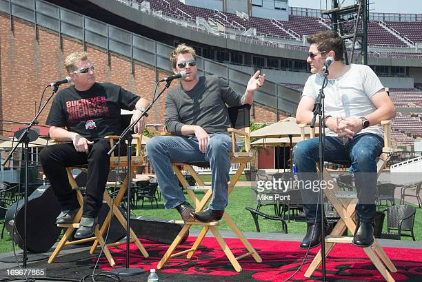 Gary LeVox Joe Don Rooney and Jay DeMarcus attend the press preview of the newly restored Nikon At Jones Beach Theater after being damaged by...