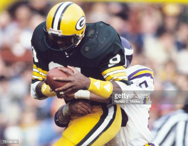 Gary Lewis of the Green Bay Packers after catching a pass in a game against the Minnesota Vikings on October 17 1983 in Green Bay Wisconsin