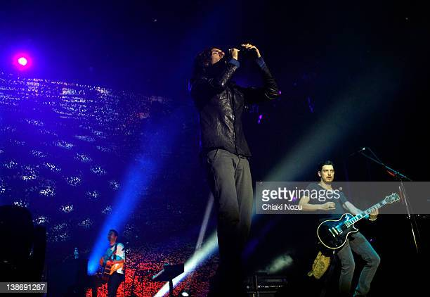 Gary Lightbody and Nathan Connolly of Snow Patrol perform at O2 Arena on February 10 2012 in London England
