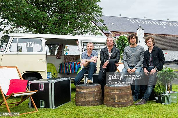 Gary Lightbody and Peter Buck of Tired Pony pose during Bushmills Live 2014 festival at Old Bushmills Distillery, on June 12, 2014 in Bushmills,...