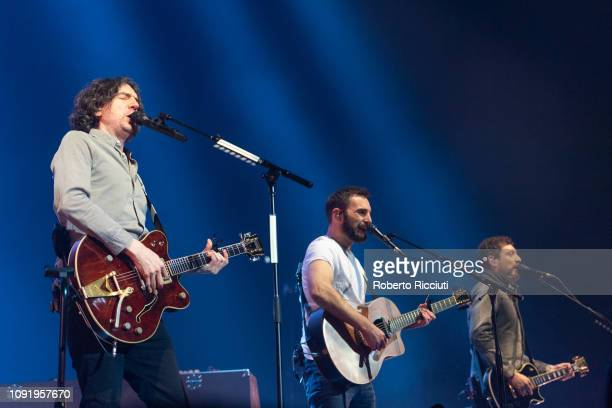 Gary Lightbody John McDaid and Nathan Connolly of Snow Patrol perform on stage at The SSE Hydro on January 31 2019 in Glasgow Scotland
