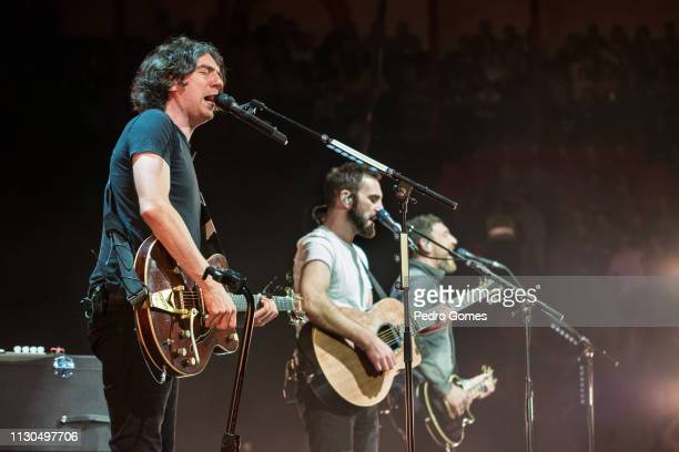 Gary Lightbody Nathan Connolly and Johnny McDaid of Snow Patrol perform at Campo Pequeno on February 16 2019 in Lisbon Portugal