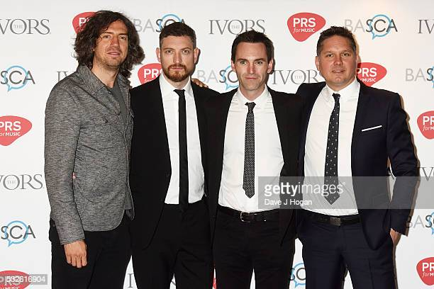 Gary Lightbody Nathan Connolly Johnny McDaid and Jonny Quinn of Snow Patrol arrive for the Ivor Novello Awards at Grosvenor House on May 19 2016 in...