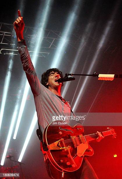 Gary Lightbody of Irish indie group Snow Patrol performs live on stage at the Kentish Town Forum on October 27 2011 in London England