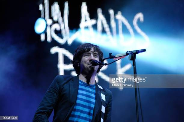 Gary Lightbody of Snow Patrol performs at the second day of the V Festival at Hylands Park on August 23 2009 in Chelmsford England
