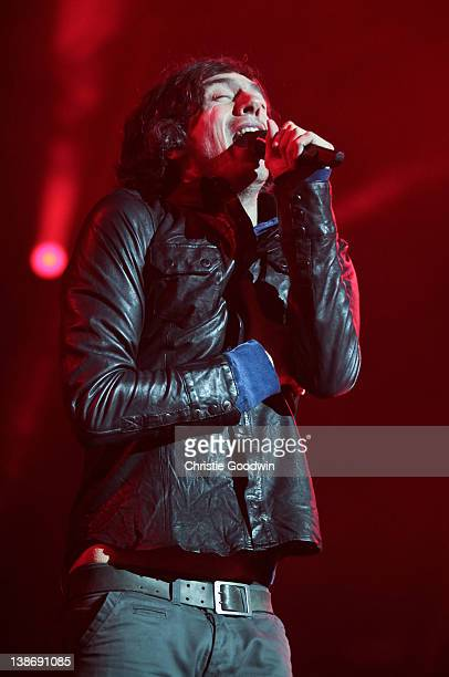 Gary Lightbody of Snow Patrol performs on stage at O2 Arena on February 10 2012 in London United Kingdom