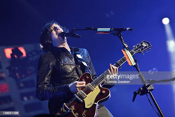 Gary Lightbody of Snow Patrol performs on stage at O2 Arena on February 10, 2012 in London, United Kingdom.
