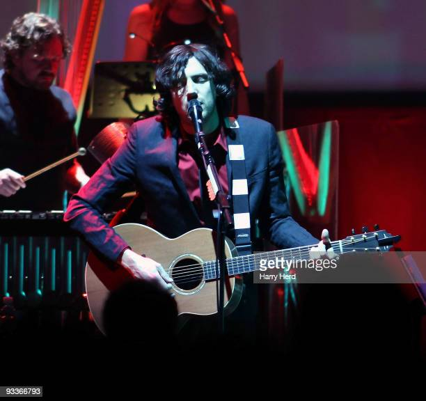 Gary Lightbody of Snow Patrol performs on stage at Royal Albert Hall on November 24 2009 in London England