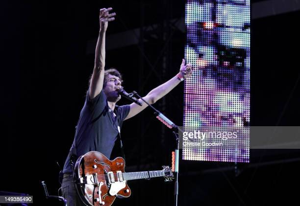 Gary Lightbody of Snow Patrol performs on stage during BT London Live at Hyde Park on July 27, 2012 in London, United Kingdom.
