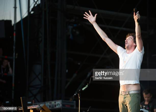 Gary Lightbody of Snow Patrol performs on the Virgin Media Stage on day 2 of the V Festival at Hylands Park on August 19 2012 in Chelmsford England