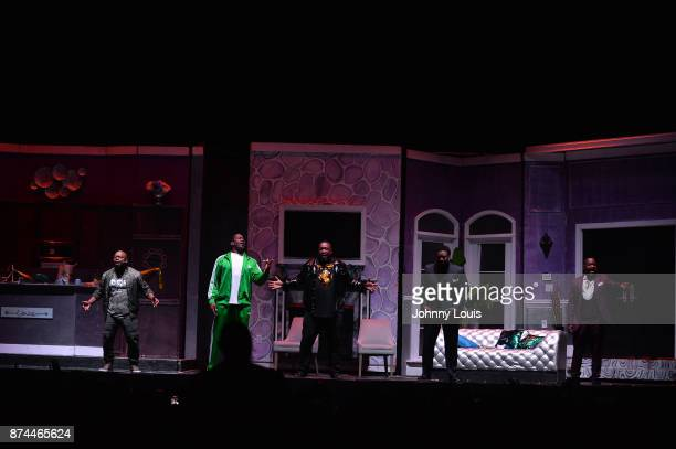 Gary 'Lil G' Jenkins Priest Tyaire Chris Bolton Canton Jones and Johnny Gill perform onstage during Priest Tyaire Productions Momma's Boy stage play...