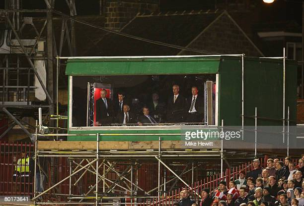 Gary Lineker Alan Hansen Mick McCarthy and Alan Shearer look on from the BBC TV studio during the FA Cup sponsored by EON 6th Round match between...