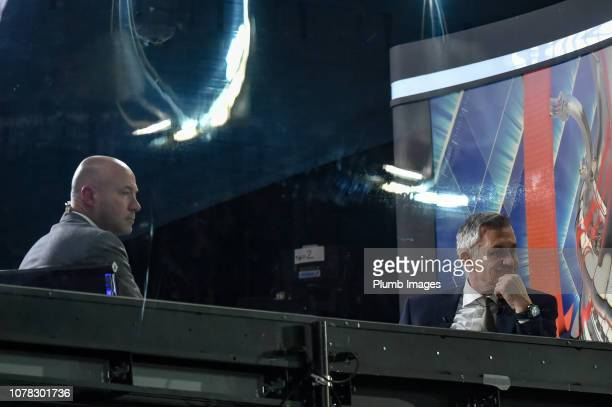 Gary Lineker and Alan Shearer watch on from the BBC studio during the FA Cup Third Round match between Newport County and Leicester City at Rodney...