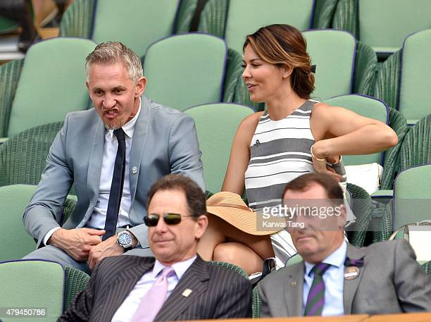 Gary Lineker and Danielle Lineker attend day six of the Wimbledon Tennis Championships at Wimbledon on July 4 2015 in London England