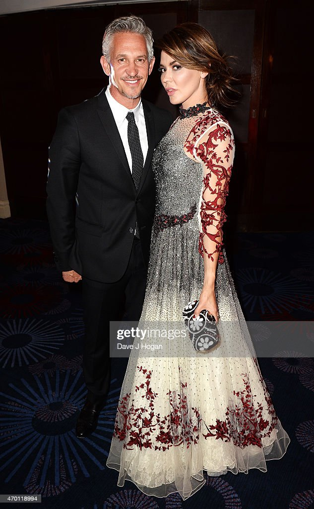 REQUIRED Gary Lineker (L) and Danielle Lineker attend The Asian Awards 2015 at The Grosvenor House Hotel on April 17, 2015 in London, England.