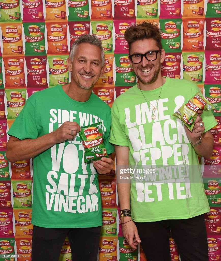 Gary Lineker and Henry Holland attend the Walkers Choose or Lose Campaign Launch Event on September 6, 2017 in London, England.