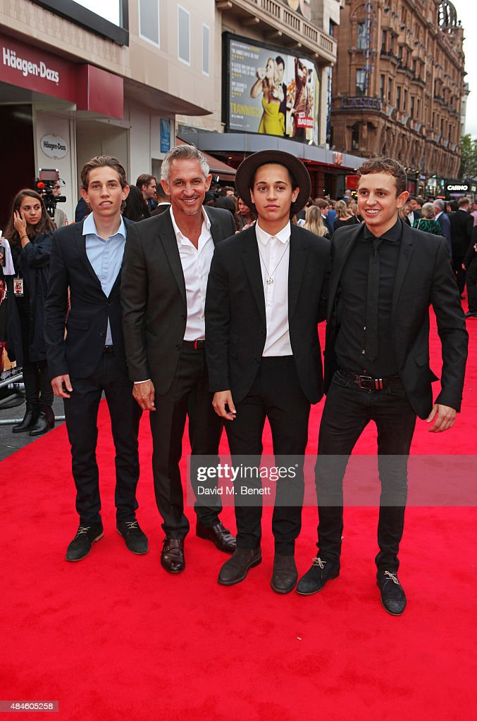 Gary Lineker (2L) and sons Angus Lineker, Tobias Lineker and George Lineker attend the World Premiere of 'The Bad Education Movie' at Vue West End on August 20, 2015 in London, England.