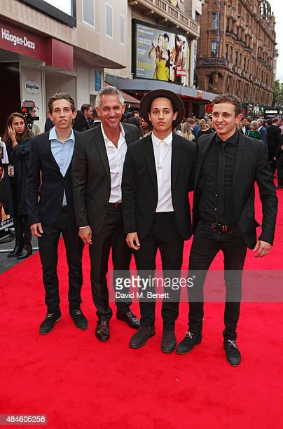 Gary Lineker and sons Angus Lineker Tobias Lineker and George Lineker attend the World Premiere of 'The Bad Education Movie' at Vue West End on...