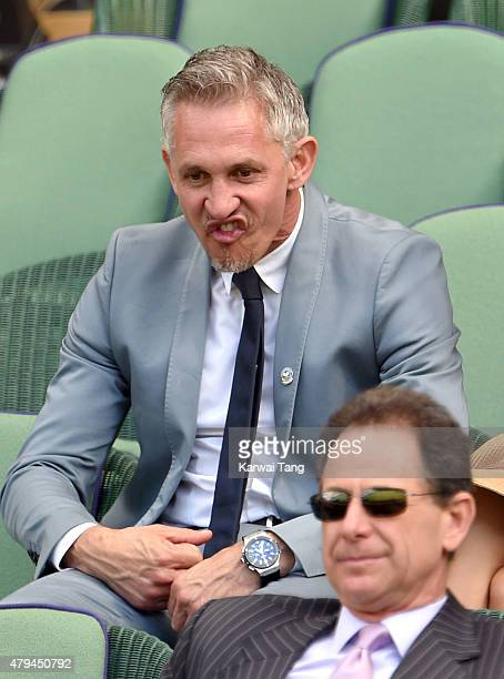Gary Lineker attends day six of the Wimbledon Tennis Championships at Wimbledon on July 4 2015 in London England