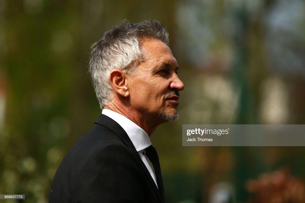 Gary Lineker attends memorial held for Ray Wilkins at St Luke's & Christ Church on May 1, 2018 in London, England.