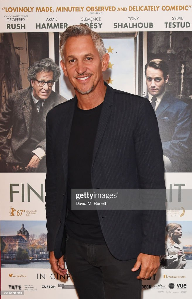 Gary Lineker attends the Gala Screening of 'Final Portrait' at The Ham Yard Hotel on August 14, 2017 in London, England.