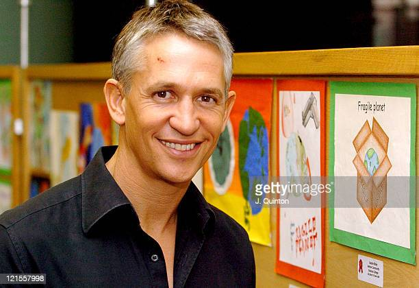 Gary Lineker during Children's Global Canvas Art Competition Photocall at Natural History Museum in London Great Britain