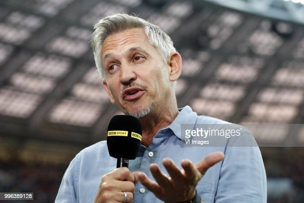 Gary Lineker during the 2018 FIFA World Cup Russia Semi Final match between Croatia and England at the Luzhniki Stadium on July 01 2018 in Moscow...