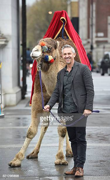 Gary Lineker launches 'Walkers Spell Go' at Marble Arch on April 15 2016 in London England