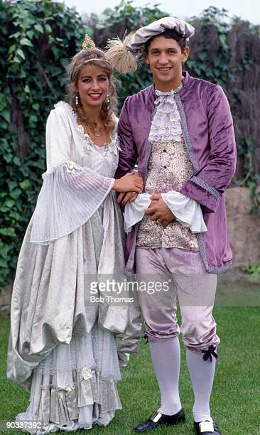 Gary Lineker of Barcelona with his wife Michelle dressed as Pantomime characters Cinderella and Prince Charming circa 1986