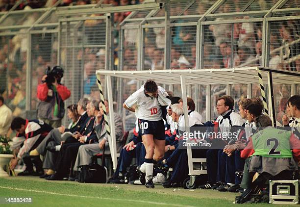 Gary Lineker of England is substituted on his final appearance for his country during the UEFA European Championships 1992 Group 1 match between...