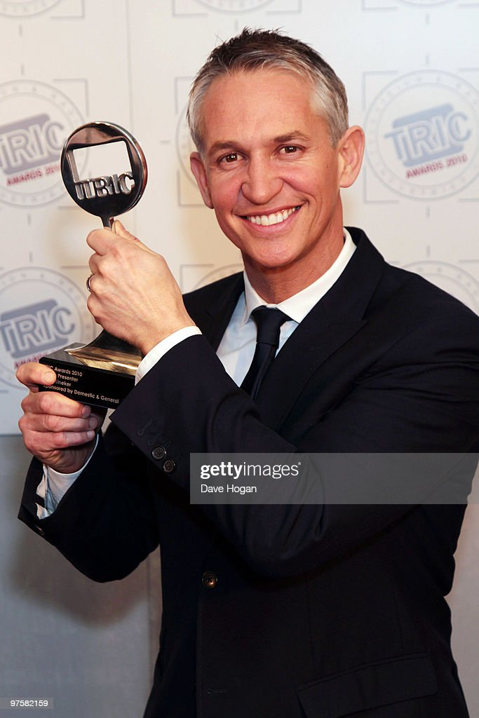 Gary Lineker poses with his Best Sports Presenter award in the press room at the TRIC Awards 2010 held at The Grosvenor House Hotel on March 9, 2010 in London, England.