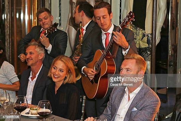 Gary Lineker Tess Ward and Ronan Keating attend the summer dinner hosted by Harrys of London and Mr Porter at Burlington Arcade on July 8 2015 in...