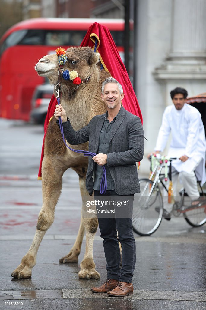 Gary Linker launches 'Walkers Spell & Go' at Marble Arch on April 15, 2016 in London, England.