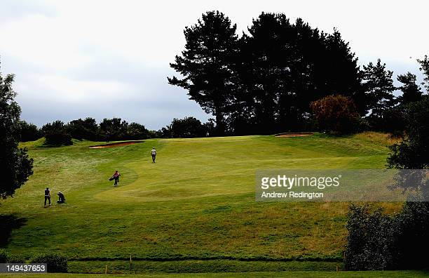 Gary Lockerbie and Luke Goddard of England climb the hill on the second hole during the third round of the English Challenge at Stoke by Nayland Golf...
