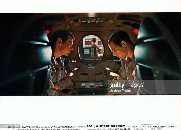 Gary Lockwood and Keir Dullea in capsule together in a scene from the film '2001 A Space Odyssey' 1968