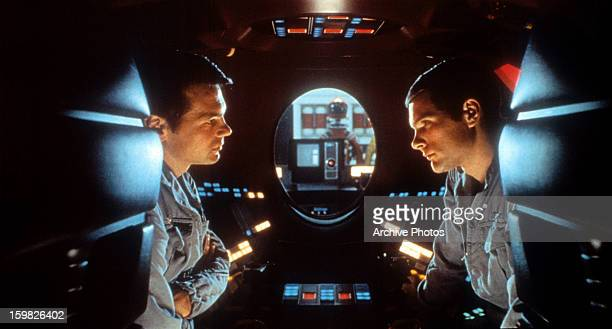 Gary Lockwood talks to Keir Dullea in a scene from the film '2001 A Space Odyssey' 1968