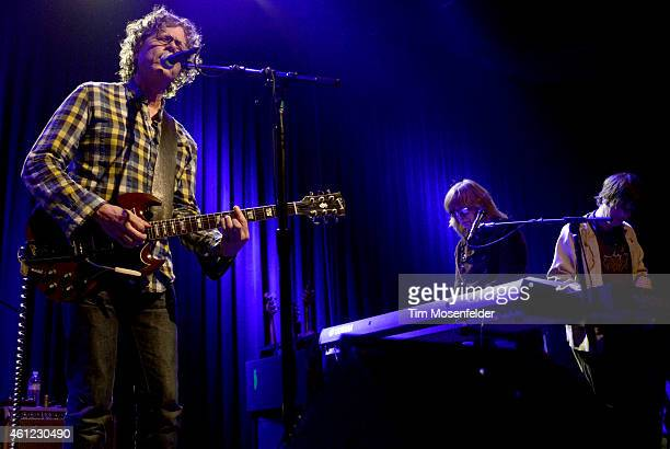 Gary Louris Karen Grotberg and Kraig Johnson of The Jayhawks perform at The Fillmore on January 8 2015 in San Francisco California