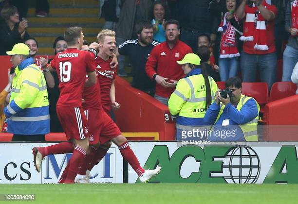 Gary MackaySteven of Aberdeen celebrates after scoring his sides first goal with team mates during the UEFA Europa League Second Qualifying Round 1st...