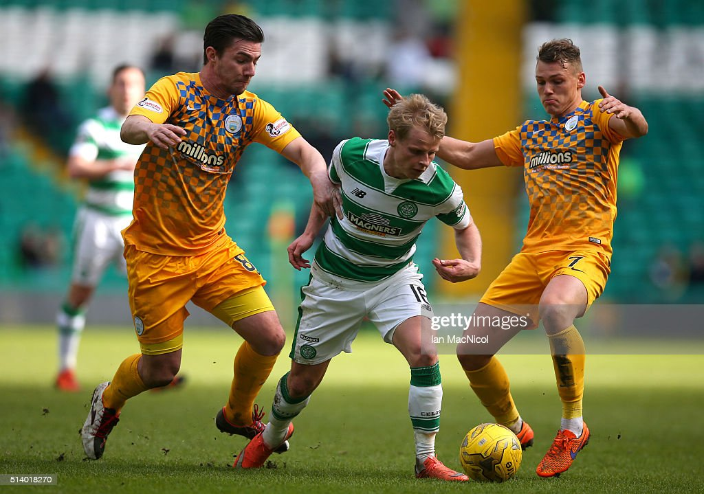 Gary Mackay-Steven of Celtic vies with Ross Forbes and Joe McKee of Greenock Morton during the William Hill Scottish Cup Quarter Final match between Celtic and Greenock Morton at Celtic Park Stadium on March 6, 2016 in Glasgow, Scotland.