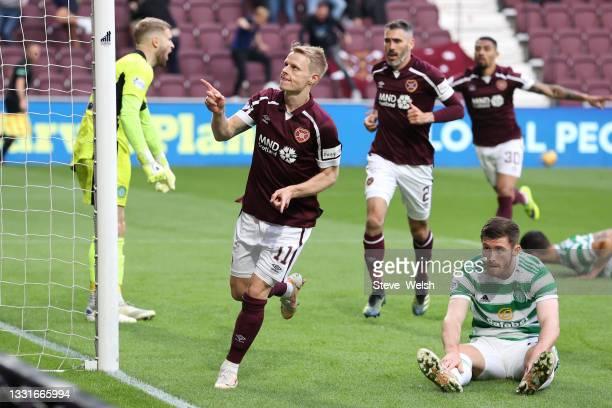 Gary Mackay-Steven of Heart of Midlothian celebrates scoring his team's first goal during the Ladbrokes Scottish Premiership match between Heart of...