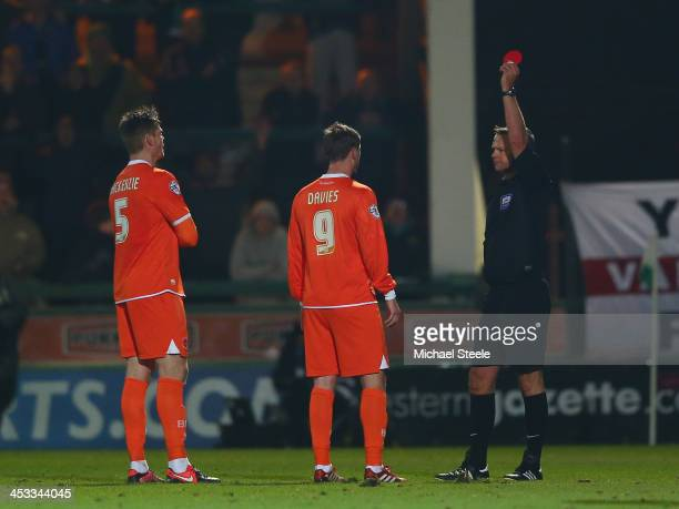 Gary Mackenzie of Blackpool is the third Blackpool player to sent off by referee Christopher Sarginson during the Sky Bet Championship match between...