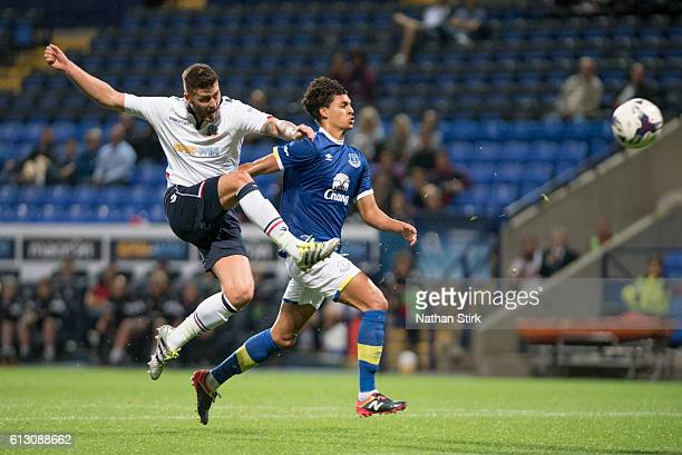 Gary Madine of Bolton Wanderers and Josef Yarney of Everton during the Checkatrade Trophy group match between Bolton Wanderers and Everton under23s...