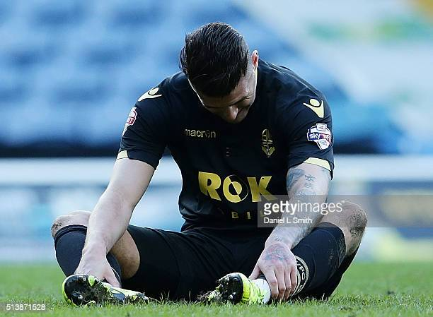 Gary Madine of Bolton Wanderers FC sits dejected after Bolton Wonderers FC concede to Leeds United FC during the Sky Bet Championship League match...