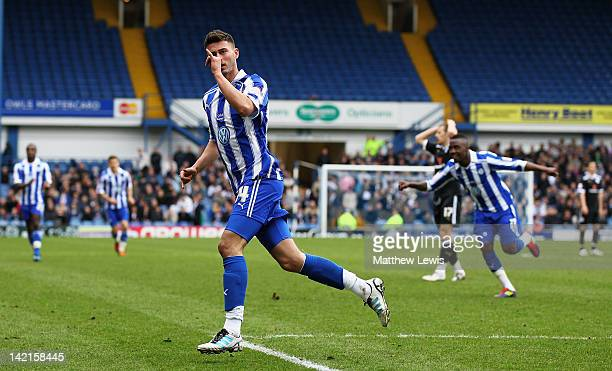 Gary Madine of Sheffield Wednesday celebrates his goal during the npower League One match between Sheffield Wednesday and Preston North End at...